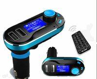chevrolet araba ses sistemi toptan satış-Kablosuz T66 MP3 Çalar Araç Kiti FM Verici Araba Ses Uzaktan Kumanda LCD Ekran Ile AUX oyna