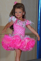 Wholesale Pretty Short Formal Dresses - 2016 Pretty Fushia Little Girls Pageant Dresses Beaded Crystals Ruffles Lovely Hot Tiered Girls Formal Dresses