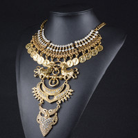 Wholesale Restore Link Necklace - New Women Choker Statement Necklace Restoring Ancient Ways Exaggerated Beauty Head Coin Tassel Necklace Free Shipping