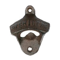 Wholesale Casting Hooks - 500pcs lot # Wall Opener Hanging Hook Beer Bottle Openers Mount Copper Cap RUSTIC CAST IRON CAFE BAR WALL OPEN HERE Metal Retro