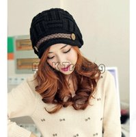 Wholesale Crochet Hat Buttons - Slouch Beanies Button Hats Knitted Crochet Baggy Skull Beret Cap Hat for Women Winter Ski Party 6 Colors