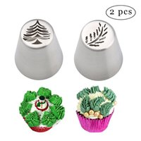 Wholesale Cupcake Tips - 2PCS Christmas Tree Icing Piping Tips,Stainless Steel Russian Leaf Nozzle Bakeware Cupcake Cake Decorating ,Pastry Baking Tools