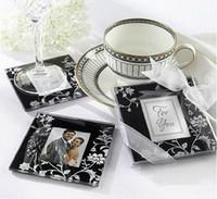 foto marco eco al por mayor-Venta al por mayor Lotes 20 unids Square Photo Frame Glass Coaster esteras de la taza almohadillas + caja de regalo favores de la boda de la cinta regalo de boda del bebé ducha