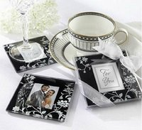 Wholesale Wedding Favors Glass Coasters - Wholesale Lots 20pcs Square Photo Frame Glass Coaster cup mats pads +gift box ribbon wedding favors baby shower wedding gift