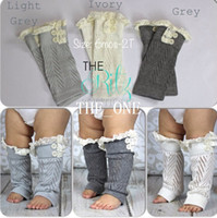 Wholesale lace trimmings wholesale - baby lace leg warmers lace knit leg warmers Crochet lace trim legwarmers baby Boot Cuffs cover socks Button Lace Leg Warmers free shipping