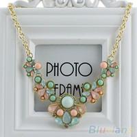 Wholesale resin flower bib necklace - Wholesale-Hot New Arrive Resin Flower Crystal Pendant Choker Statement Bib Necklace 1OYN