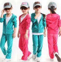 Wholesale girls velvet pants - Kids Velvet Clothing Suits Girls Fashion Hooded Coats+Casual Pants 2 PCS Kids Winter Clothing Sets 5 S L