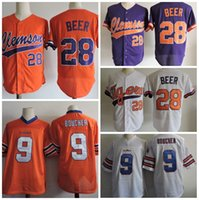 Wholesale Blue Red Movies - Man Waterboy Adam Sandler #9 Bobby Boucher Movie Jerseys Clemson Tigers #28 Seth Beer Baseball Jerseys