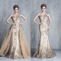 Wholesale Tulle Detachable Train Evening Dress - Tony Chaaya Prom Dresses 2018 Evening Gowns With Detachable Train Champagne Beads Mermaid Gowns Lace Applique Sleeveless Luxury Party Dress