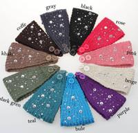 Wholesale Hair Hands Diamonds - 2017 New Women Headband With Diamond Wool Hand Knitting Warm Handmade Hair Hoop Wholesale 11 Color Hair Band