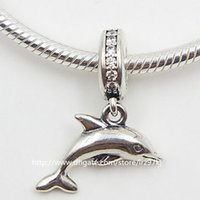 Wholesale Dolphin European Charms - New 100% 925 Sterling Silver Playful Dolphin Dangle Charm Bead with Clear Cz Fits European Jewelry Bracelets & Necklaces