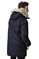 Wholesale Fashion Netherlands - Navyblue Man Long Parka Crosshatch Netherlands donsjack man down jacket with real fur collar Sweden dunjacka