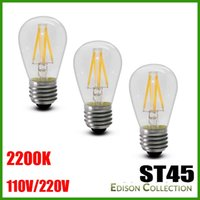 Wholesale E27 Type Led Bulbs - LED Filament Type 2W 3 Watt - ST45 Shape Bulb - 40 Watt Equal - CRI 85 - 2200K Warm Glow - Dimmable - Similar Look and Feel to Incandescent