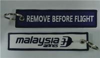 quitar etiquetas al por mayor-Malaysian Airlines Quitar Antes del Vuelo Tejido Bordado Key Key Key Key Keyb 13x2.8cm 100 unids / lote