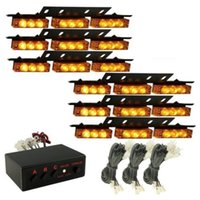 Wholesale Car Led Light Bar 54 - 54 Amber Yellow LED Emergency Warning Beacon Strobe Lights Bars Car Dash Grille