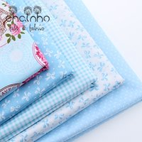 Wholesale Wholesale Yarn Products - Cotton Fabric For Patchwork Quilts Scrapbooking Products Fat Quaters Tilda Cloth Sewing Fabrics 5pcs Blue Designs 40*50CM