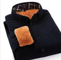 Wholesale Corduroy Shirt Dresses - 2015 Thickne Mens Casual Warm Shirt Corduroy Long Sleeve Add Wool High Quality Slim Fit Dress Shirt For Men Solid Color 4XL