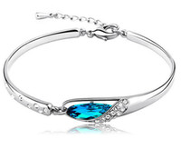 bracelets en diamant bleu achat en gros de-Luxe Saphir Bracelets Bijoux Nouveau Style Charmes Bleu Autriche Diamant Bracelet Bracelet 925 En Argent Sterling Verre Chaussures Bijoux À La Main