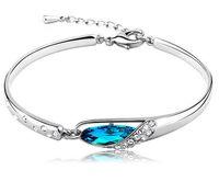 pulseira de diamante de safira azul venda por atacado-Luxo Sapphire Pulseiras Jóias Novo Estilo Encantos Azul Áustria Pulseira De Diamante Pulseira de Prata Esterlina 925 Sapatos de Vidro de Jóias de Mão