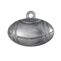Barato Encantos De Metal Desportivo-Hot Fashion Design DIY Jóias Oval Sports Metal Football Charms Pendant