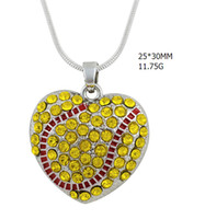 Wholesale Baseball Rhinestone Jewelry Necklaces - wholesale zinc alloy material rhodium plated yellow crystal single-sided heart red enamel baseball sport necklace jewelry making