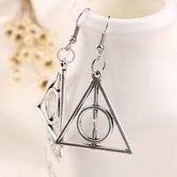 Wholesale Antique Silver Earring - Harry the Deathly Hallows Horcrux Earrings Antique silver Bronze Triangle Dangle pendants women Fans Potter Fashion Jewelry Drop Shipping