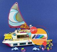Wholesale Olivia Toys - 01038 651pcs Friends Sunshine Catamaran Dolphins Olivia Stephanie Girl Building Block Compatible 41317 Brick Toy lepin