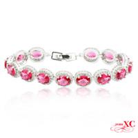 Wholesale 14kt Gold Bracelets - Wholesale-Fine Jewelry Fashion pulseiras femininas Pink Sapphire AAA Zircon Bracelets for Women 14KT White Gold Filled Bracelet BR0001
