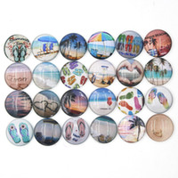 Wholesale Wholesale Beach Glass Jewelry - NEW Arrival 18mm Cabochon Glass Stone Button Ocean Beach Scene Flip Flop Buttons for Snap Jewelry Bracelet Necklace Ring Earring