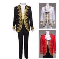 Wholesale White Fancy Tops - Royal European Court Fancy Outfit Vintage Rococo Baroque Prince Tops+Pants Cosplay Costume for Men White Black Red