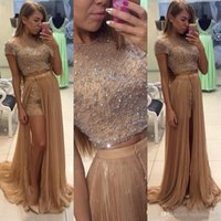 Wholesale Modern Khaki Pants - Khaki Three Pieces Evening Dresses Cap Sleeves A Line Beads Prom Gowns 2016 Short Pants with Split Side Skirt Floor Length Pageant Gowns