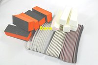Wholesale Nail Buffer Set - Wholesale-40x 100 180 Pro Durable Curve Sandpaper Nail Art Care Buffers Manicure Pedicure Files Kits Orange White Block Sanding Sets