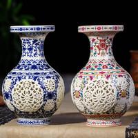antiquitäten chinesische vasen großhandel-Antike Jingdezhen Keramik Vase chinesischen durchbohrten Vase Hochzeitsgeschenke Home Handwerk Einrichtungsgegenstände