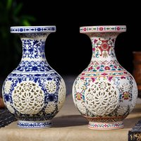 Wholesale Ceramic Furnishing Articles - Antique Jingdezhen Ceramic Vase Chinese Pierced Vase Wedding Gifts Home Handicraft Furnishing Articles