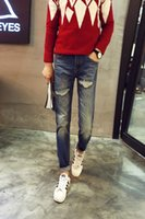 Wholesale Korean Printed Pants - 2015 autumn and winter Korean version of the influx of new men pants printing Slim jeans feet patch holes letter M