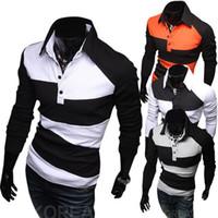 Wholesale Tshirts Slim Sleeve Mens - Hot sale Turn-down collar Mens T-Shirt Long Sleeve polo shirt slim Fit brand Tshirts Free shipping
