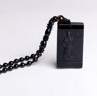 Pendant Necklaces carved jade beads - AAA natural hand carved black obsidian pendant frosted charm good luck guan yu pendant black jade bead necklace