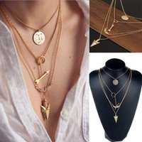 2015 Nouveau Design Multiwall Set Punk Or Angel Wings Arrows Pendentif Collier Chaînes Femmes Bijoux Drop Drop