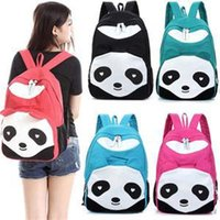 Wholesale Girls Backpacks Panda - Fashion Lovely Panda Canvas Women Backpack School Bag Student Shoulder Bags For College Girls Teenagers Mochilas Casual Daypacks