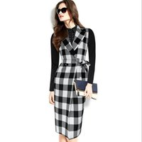 Wholesale Trench Coats Women Wear - 2017 nice Women's Elegant Tartan Check Plaid Lapel Belted Button Sleeveless Wear to Work Office Long Vest Jacket Trench Coat