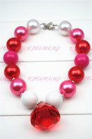 Wholesale Large Chunky Chain - Red waterdrop Pendant Chunky Necklace-Pink & Red-Large acrylic beads with large like pendent Girl Necklace for Kids CB122