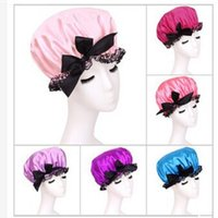 Bowknot Band Hat Hair Bath Double Lace Elastic Shower Cap Polka Dot Women Waterproof Shower Caps Satin + Free Gift 2 Hair Hands
