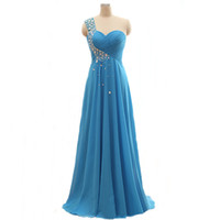 Wholesale Turquoise One Shoulder Bridesmaid Gowns - One Shoulder Turquoise Evening Dresses Long Pleats Sweetheart A Line Lace up Crystal Evening Gowns Plus Size Prom Bridesmaid Dresses Vestido