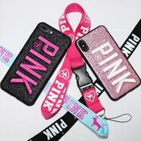bling phone covers toptan satış-Iphone X XS MAX XR Cep telefonu için Aşk Pembe mektubu Vaka Moda Tasarım Glitter kılıfları 3D Nakış bling Kapak Kılıfları iPhone X ...