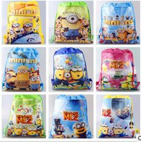 Wholesale Cheap Children Handbag - NEW 2015 Children Drawstring Bags Cartoon The Superhero Backpack Kids School Bag Handbag cheap kindergarten School Bags V1DB6C