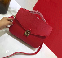 Wholesale Womens Cotton Handbags - New arrived fashion style Designers Luxury shoulder handbag brand red high quality womens leather message bag
