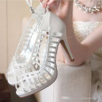 Wholesale Crystal Sandals For Women - fashion women shoes for wedding sandals ivory black wedding high heels crystals beaded bridesmaid prom party shoes