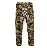 Wholesale Velvet Trousers Women - Occidental Tide brand casual wear pants men shark With velvet camouflage pants men and women with cashmere trousers