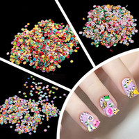 Wholesale Nail Clay Animal - Wholesale-1000 Pieces Bag Fimo Clay 3 Series Fruit Flowers Animals DIY 3D Nail Art Decorations Nails Art Decoration Sticker Design