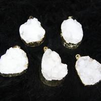 Wholesale drusy agate pendants resale online - 3pcs Freeshipment Natural White Druzy Agate Women Connector Gold Plated Crystal Quartz Drusy Agate Pendants Necklace Jewelry Drop Pendant